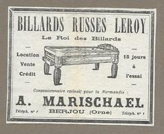 1934.. BILLARD RUSSES LEROY Concessionnaire A. MARISCHAEL à BERJOU ( Orne 61) - Reclame