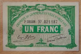 ORLÉANS (45) 1 Franc Chambre De Commerce 2 Août 1916 - 2 ème émission - Chambre De Commerce