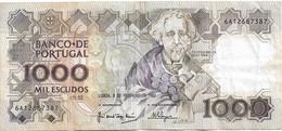 PORTUGAL 1000 ESCUDOS - TEOFILO BRAGA - 06-02-1992 - USADA - USED -  UTILISÉ - Portugal