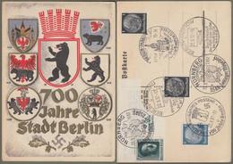 """Deutsches Reich: Sonderkarte, Gedenkkarte Mi.-Nr. 512, 514, 648 SST: """" 700 Jahre Stadt Berlin """"  !   X - Storia Postale"""