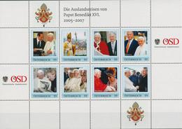 Österreich 2007 Papst Benedikt Reisen Personalisierter Kleinbogen (C96187) - Sellos Privados