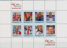 Österreich 2007 Sporthilfe Weltmeister Personalisierter Kleinbogen (C96189) - Sellos Privados