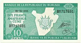 BURUNDI - 10 FRANCS - 05/02/2005 - Pick 33.e - UNC. - Série BY - Map And Arms - Burundi