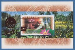 AUSTRALIA 1997  WETLANDS WILDLIFE $10  BIRD M.S. OPT. NIPPON STAMP EXPO.  S.G. MS 1686a   U.M. N.S.C. - Nuevos