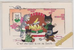 """Chats  """"C'est Charmant La Vie De Famille"""" Carte Avec Découpés Et Paillettes. Etiquette St Nicolas. JDA 621 - Chats"""