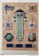 Le Bijou Moderne -  Boules De Jade - Broche Améthyste, émeraude, Ambre, Perles  - Page Original En Couleur 1927 - 3 - Documentos Históricos