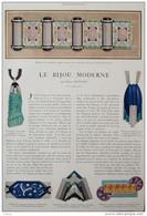 Le Bijou Moderne - Broche, Topazes, Brillants Et émail Bleu  - Page Original En Couleur 1927 - 1 - Documentos Históricos