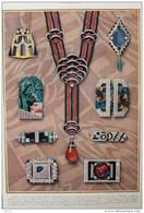 Le Bijou Moderne - Collier En Corail, Onyx Et Brillants  - Broche En Brillants  - Page Original En Couleur 1927 - 2 - Documentos Históricos