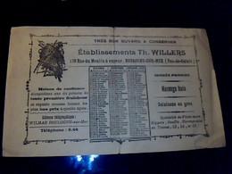 Vieux Papier Publicité Buvard Calendrier De 1928 Ets. Th. Willers Pêcherie De Harengs à Boulogne Sur Mer (Pas De Calais) - W