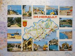 Carte Du Département De L'Hérault Avec Vues Multiples - Zonder Classificatie