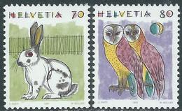 1991 SVIZZERA ANIMALI CONIGLIO E BARBAGIANNI MNH ** - RD21-7 - Unused Stamps