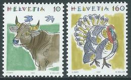 1992 SVIZZERA ANIMALI MUCCA E TACCHINO MNH ** - RD21-7 - Unused Stamps