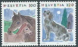 1993 SVIZZERA ANIMALI CAVALLI E CANE MNH ** - RD23-5 - Unused Stamps