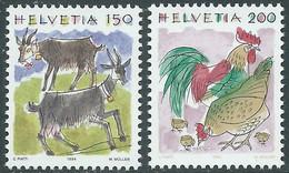 1994 SVIZZERA ANIMALI CAPRE E GALLO GALLINA PULCINI MNH ** - RD23-5 - Unused Stamps