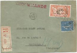 MERSON 2FR N°145 ECUSSON BRISE COTE 320€ DETACHE +N°205 DEVANT LETTRE REC PARIS 1929 POUR BELGIQUE - 1900-27 Merson