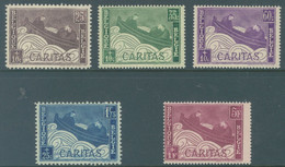 BELGIQUE - 1927 - MNH/*** LUXE - CARITAS BOOTJE BARQUETTES - COB 249-253 -  Lot 22818 - Unused Stamps