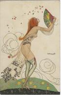 FANTAISIE ILLUSTRATEUR BRUNELLESCHI FEMME NUE EVENTAIL ART NOUVEAU - Brunelleschi