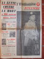 Journal L'Humanité Dimanche (19 Août 1956) Catastrophe Marcinelle - Suez - Août 1944 - 1950 - Oggi