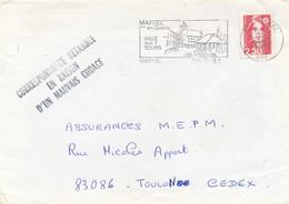 """Griffe """" CORRESPONDANCE RETARDEE EN RAISON D'UN MAUVAIS CODAGE """" Marianne Briat Lettre Martel Lot > Toulon Var - Cartas Accidentadas"""