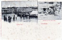 CPA - TANZANIE - ZANZIBAR -  Coaling Pier -  Natives At The Water Pipe - Tanzania