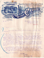 Facture (courrier) 1913, Raffinerie Normande De Graisses Alimentaires, Léon Croizé à Roncherolles Sur Le Vivier - 1900 – 1949