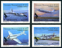 Argentine Argentina Argentinien 1990 Aerolineas  Junkers Ju-52 Grumman Albatross Fokker F-27 F-28 - Airplanes