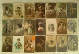 LOT DE 60 CPA FANTAISIE THEME FEMME - Portrait Artiste Mode Muse Photomontage Série Carte Photo - Mujeres