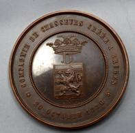 MEDAILLE ( HART) COMP.DE CHASSEURS CREE A BRUGES - 75e  ANIVERSAIRE D/L COMP. 1905  5.5 Cm  ZIE AFBEELDINGEN - Altri