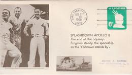 N°835 N -lettre (cover) Splashdown Apollo 8 - Noord-Amerika