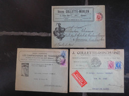 Timbres Belgique Vers 1930 Sur 3 Enveloppes / Entreprises Huy - Ohne Zuordnung