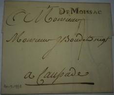 LAC Avec Marque De Moissac Du 24/09/1773 Pour Caussade - TM ? - SUPERBE FRAPPE - 2 Photos - 1701-1800: Voorlopers XVIII