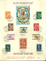 Belgie 1942 Speciaal Blaadje Winterhulp Nummer 6556 Met Eerstedag Stempels OPB 603-612 - ....-1951