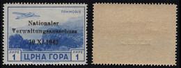 "MONTENEGRO-GERMANY, ""NATIONALER"" VALUE OF 1 Lira AIRMAIL ISSUE, MNH 1944 - Montenegro"
