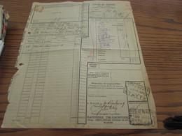 Lettre De Voiture Oblitérée NORD BELGE STATTE En 1939 Au Départ De La Raffinerie Tirlemontoise, Division De WANZE. - Nord Belge