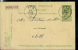 Entier; Obl. ATH 21/06/1904  + Griffe De PAPIGNIES 'encadrée) - Sello Lineal