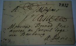 LAC Avec Marque PAU Du 09/04/1728 En Port Payé Pour Paris Mention De Franchise Manuscrite Au Recto Mais Taxe Au Verso ?? - 1701-1800: Precursori XVIII