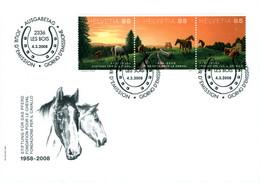 Suisse Schweiz Les Bois Fondation Cheval Pferd Cavallo Ausgabetag Env.1er Jour 2008 état Neuf Super 3 Timbres - Sammlungen