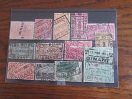 13 Timbres Du Chemin De Fer Oblitérés Par Le NORD BELGE. Gare De DINANT (y Compris Le Cachet POSTHUME En 1944!) - Nord Belge