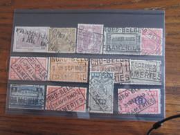 13 Timbres Du Chemin De Fer Oblitérés Par Le NORD BELGE. Gare De FRAMERIES (y Compris Le Cachet POSTHUME En Déc. 1940 - Nord Belge