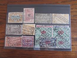 15 Timbres Du Chemin De Fer Oblitérés Par Le NORD BELGE. Gare De JAMBES (y Compris Le Cachet POSTHUME En 1940 Et 1941 ) - Nord Belge