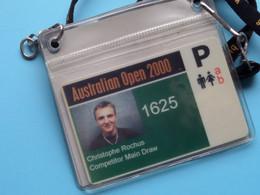 AUSTRALIAN OPEN 2000 : CHRISTOPHE ROCHUS Belgium / Accreditation CARD / With ORIGINAL Lanyard / Cordon ! - Altri