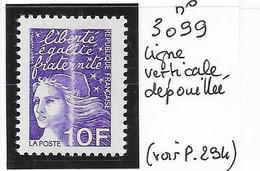 NOUVEAUTE VARIETE N° 3099 Ligne Verticale Dépouillée - Varieties: 2000-09 Mint/hinged