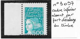 VARIETE N° 3097 Marianne Cadre Inférieur Absent - Varieties: 2000-09 Mint/hinged