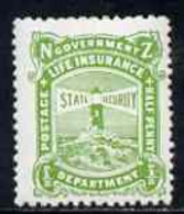 New Zealand 1913-37 Life Insurance 1/2d Yellow-green P14x15 (Lighthouse) U/M Some Toning, SG L36a - Nuovi