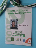HEINEKEN OPEN SHANGHAI 2000 : CHRISTOPHE ROCHUS Belgium / Accreditation CARD / With ORIGINAL Lanyard / Cordon ! - Altri