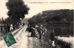 Thematiques 35 Ille Et Vilaine Saint Malo De Philiy  Les Pêcheurs Sur Les Bords De La Vilaine Timbre Cachet 20 08 1910 - Other Municipalities