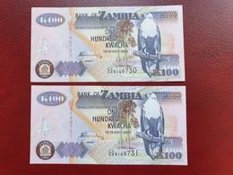 Lot De 2 Billets Consécutifs De 100 Kwachas De Zambie De 2009 Neuf UNC/AUNC - Sambia