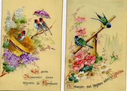 Oiseaux Humanisés - Peint à La Main Sur Rodoïd - Affection Et Bonheur - Lot De 2 - Birds