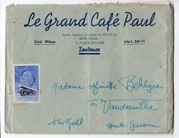 Toulouse ( 31 Haute Garonne) Enveloppe Avec Entête GRAND CAFE PAUL Et Vignette  Antitberculeuse (PPP26227) - Antitubercolosi