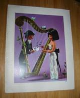 Carte De Voeux Les Amoureux De Peynet Les Poupées La Harpiste La Harpe Carte Bon Etat Feuillet Volant Ecrit - Peynet